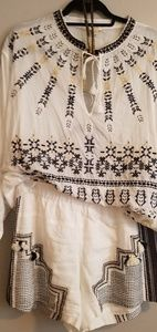 Jcrew Embroidered White/Black/Cream Short Set